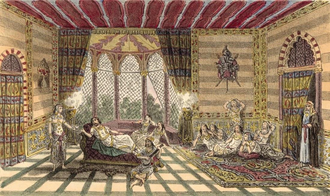 Act II. 1er tableau. estampe de Jules Gaildrau du décor de la création à la Monnaie de Bruxelles.jpg