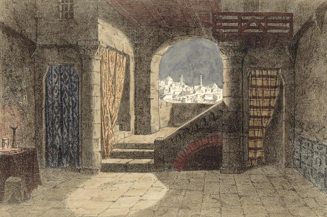 Act III. 1er tableau. estampe de Jules Gaildrau du décor de la création à la Monnaie de Bruxelles.jpg