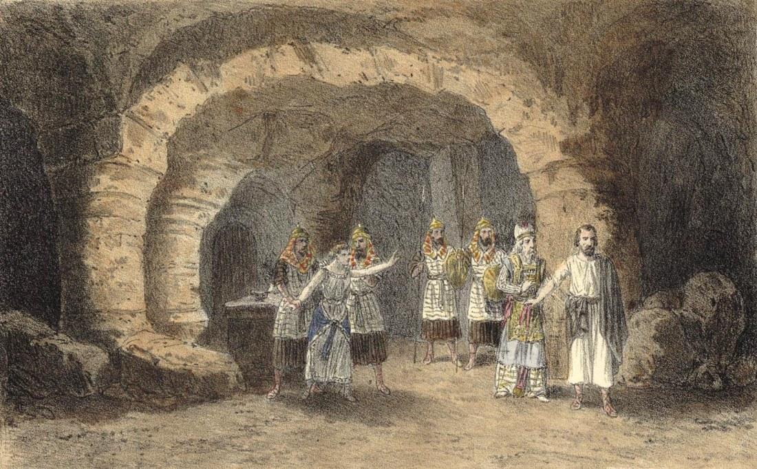 Act IV. 1er tableau. estampe de Jules Gaildrau du décor de la création à la Monnaie de Bruxelles.jpg