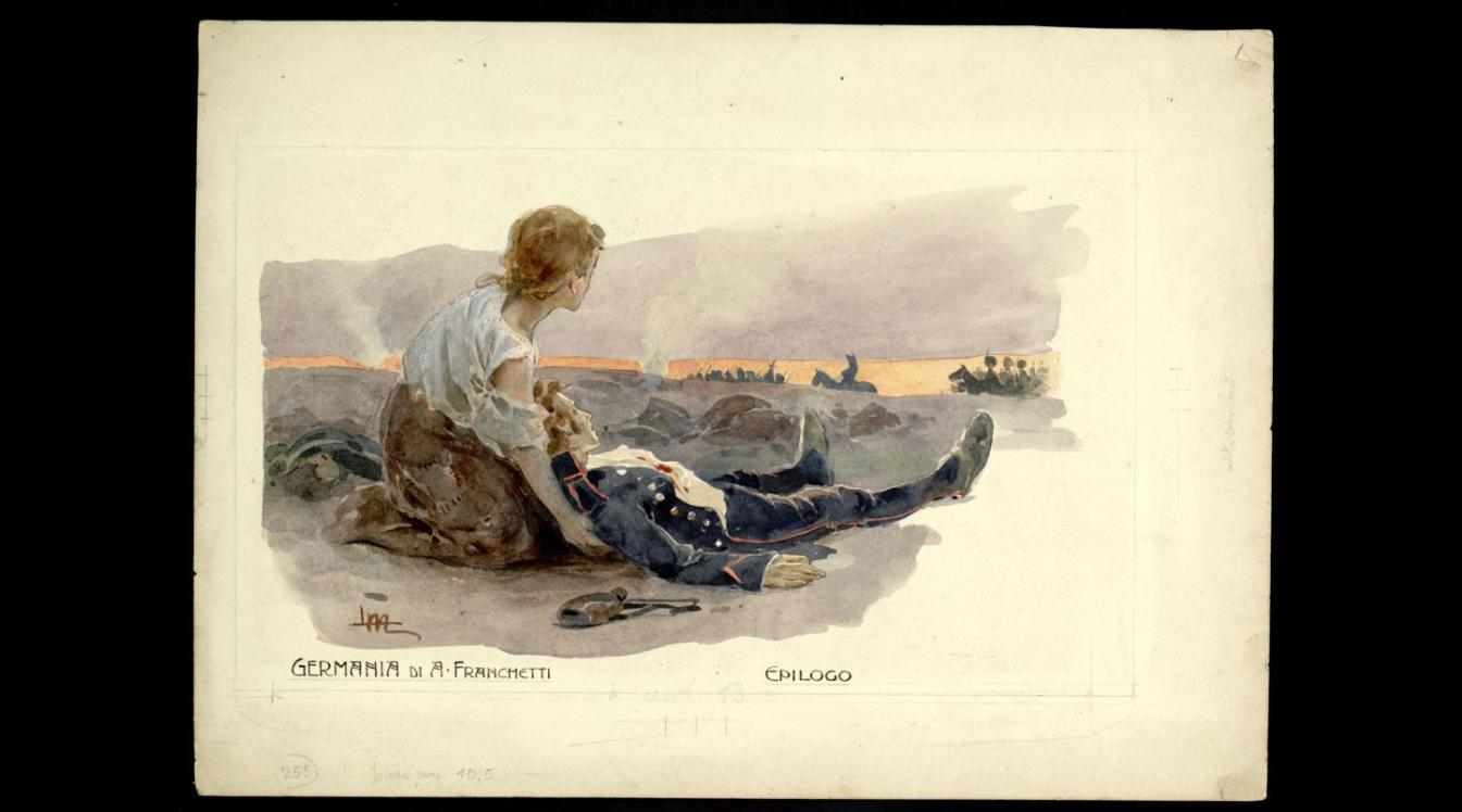 Act III - Federico fra le braccia di Ricke, sullo sfondo Napoleone e il suo esercito in ritirata.png