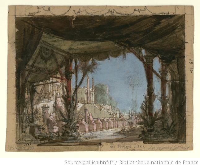 Les Troyens à Carthage - Acte II -  esquisse de décor - les jardins de Didon au bord de la mer, statues colossales devant les marches du palais.jpg