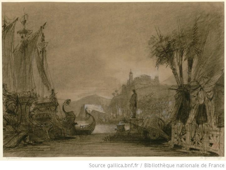 Les Troyens à Carthage - Acte III - esquisse de décor - la flotte troyenne au port 1