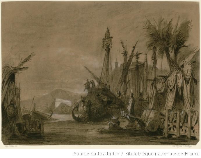 Les Troyens à Carthage - Acte III - esquisse de décor - la flotte troyenne au port 2
