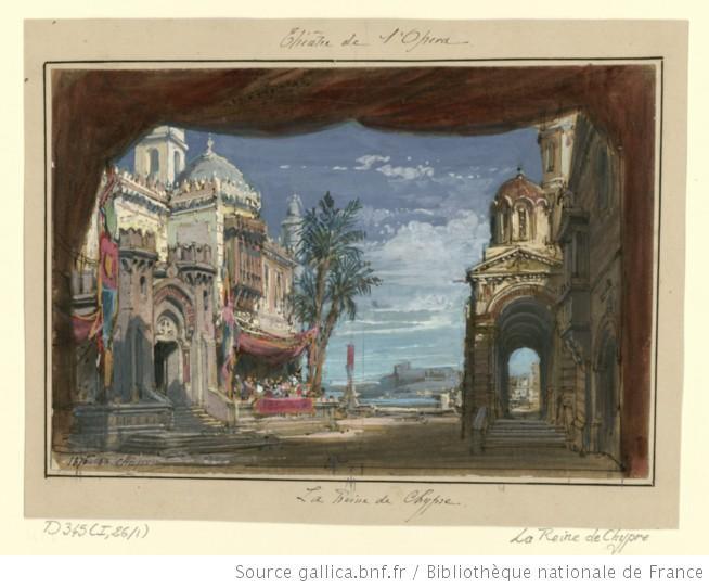 Act IV - esquisse de décor - la grande place de Nicosie