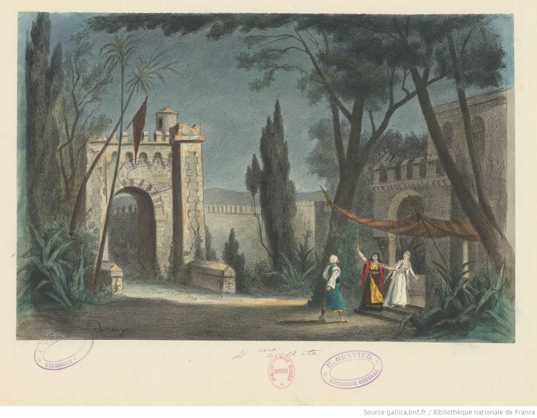 acte 4, le jardin du palais de Ben Saïd, d'après le décor de Chaperon
